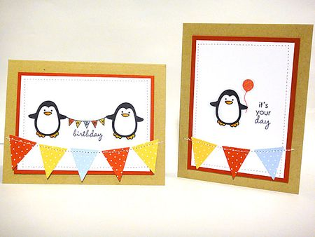 pine is here. introducing winter penguin, tagits, Birthday card