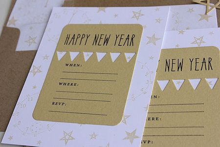 i used the banner journal card for the main part of the invitation die cut from gold shimmer cardstock i stamped a happy new year from the new keep it